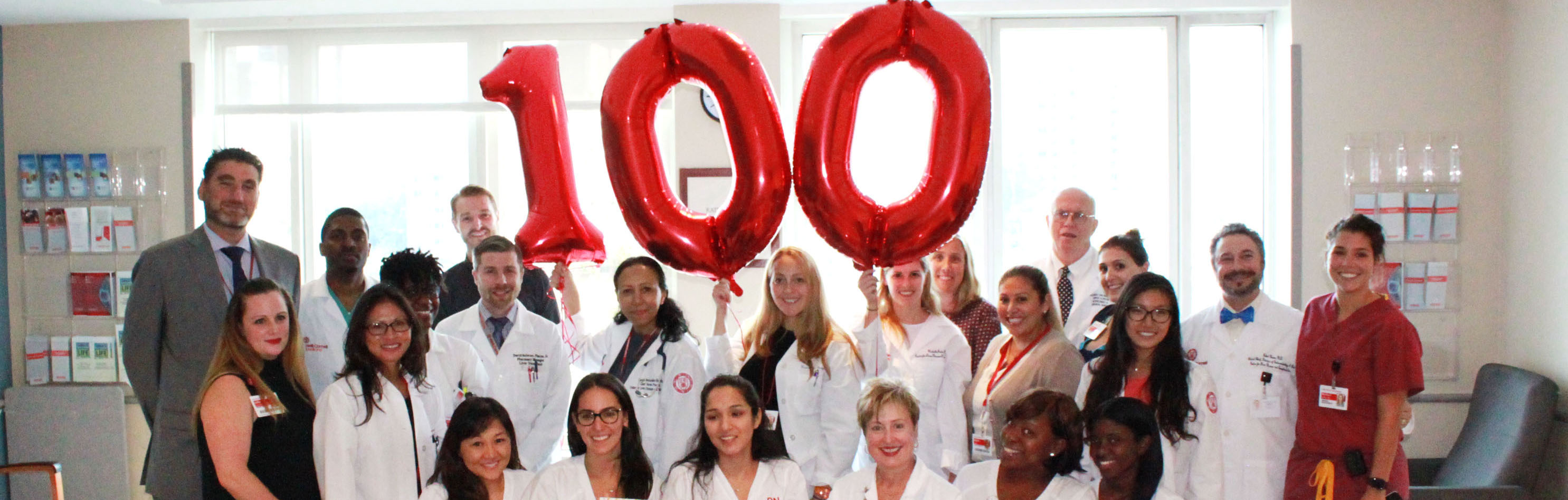 Physicians and staff of the Living Donor Liver Transplantation Program at Weill Cornell Medicine celebrate their 100th transplant.