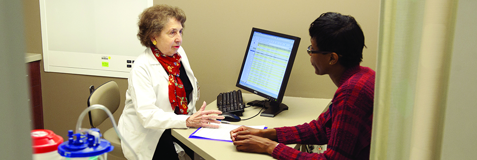 A patient consults with a physician.