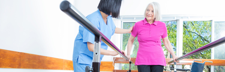 Woman undergoing physical rehabilitation