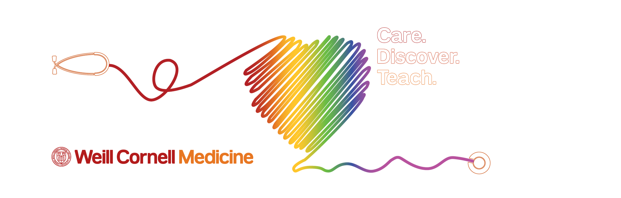 Weill Cornell Medicine logo with rainbow-colored heart