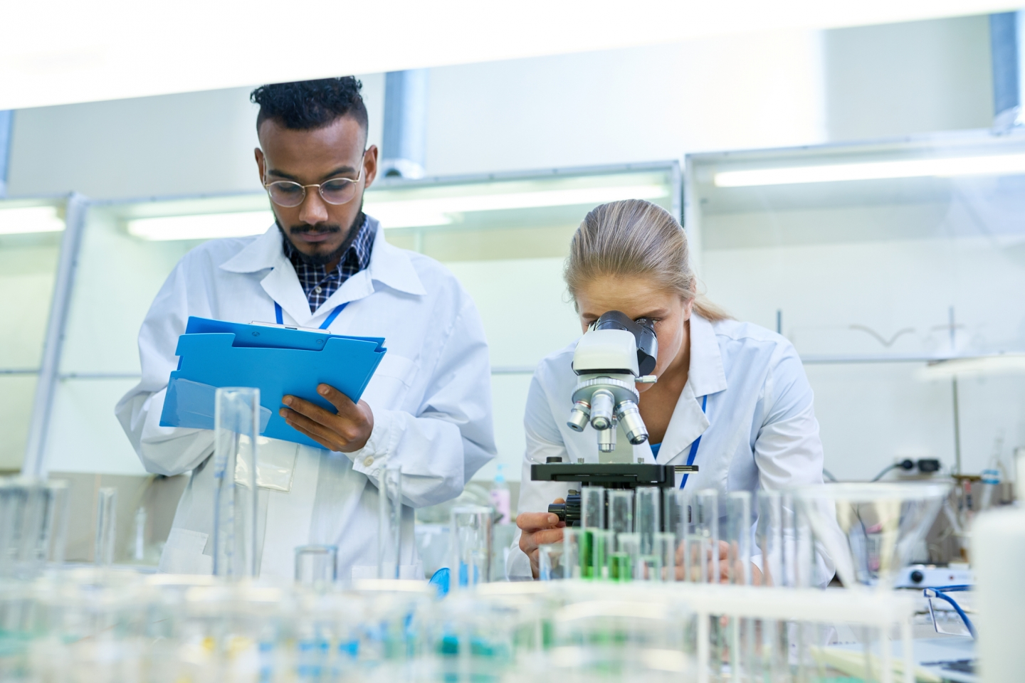 Researchers working in a lab