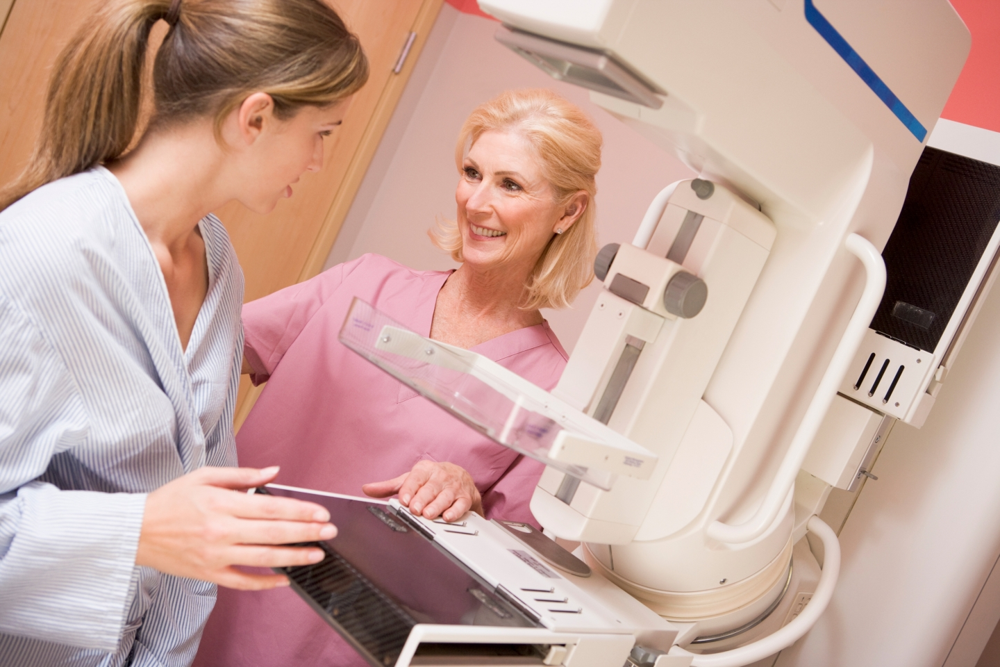 Woman preparing for a mammogram