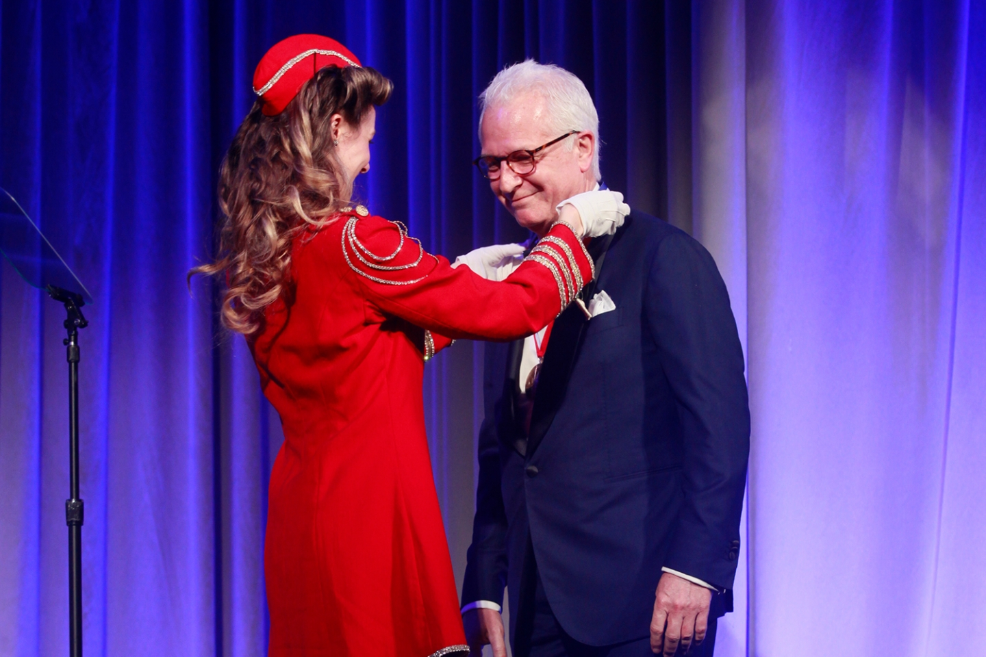 Dr. Philip Stieg accepts the prestigious Ellis Island Medal of Honor in a ceremony held in the Great Hall at Ellis Island.