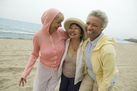 women walking on the beach together