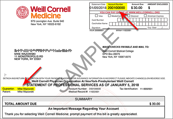how to pay your bill weill cornell medicine