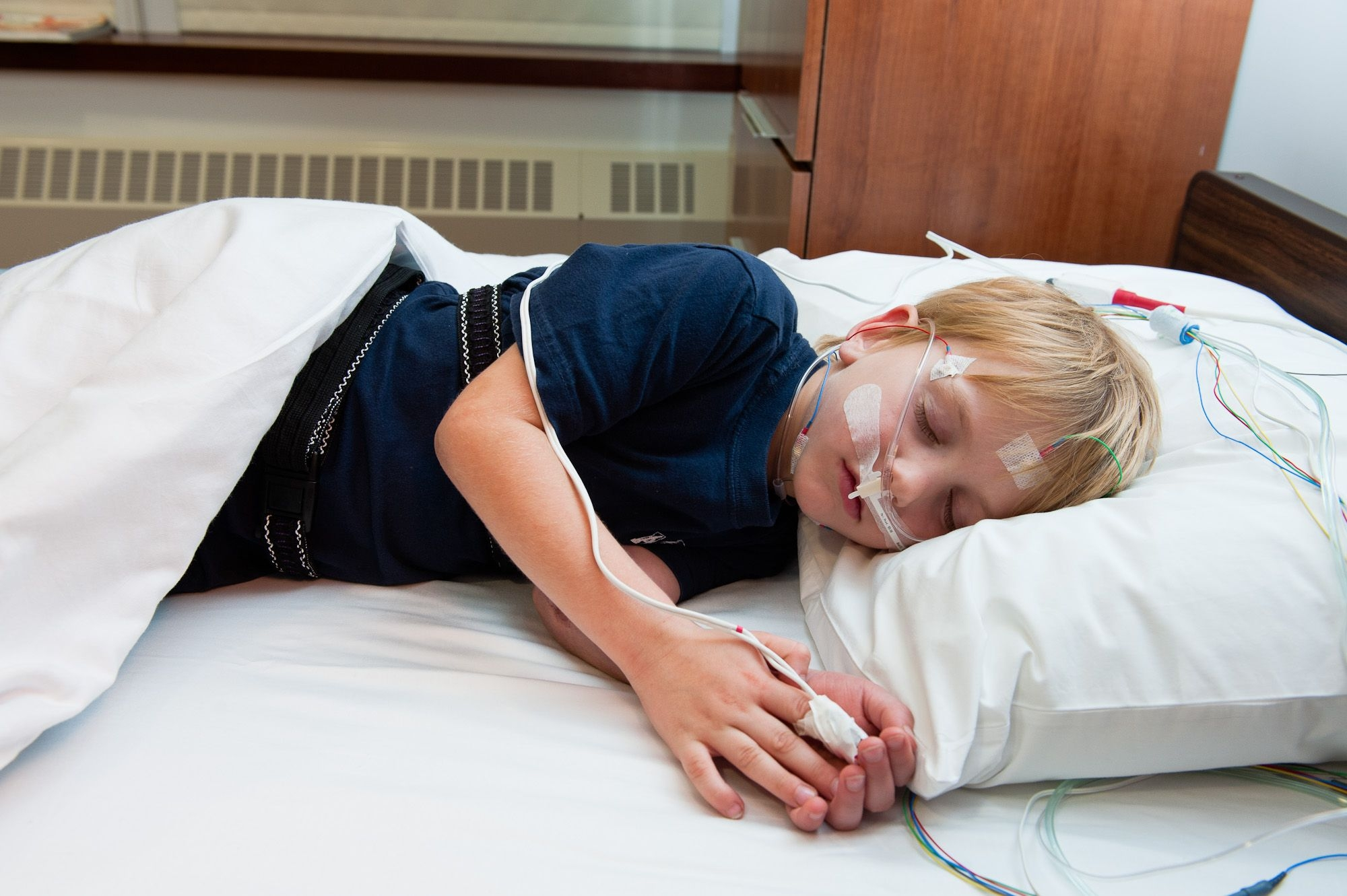 A pediatric patient at Weill Cornell Medicine undergoing a sleep study.