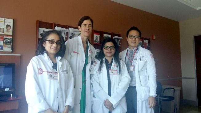 Dr. Nida Anwar poses for a photo with Dr. Pinkal Desai, Dr. Ellen Ritchie and Dr. Sanamin Lee from Weill Cornell Medicine.