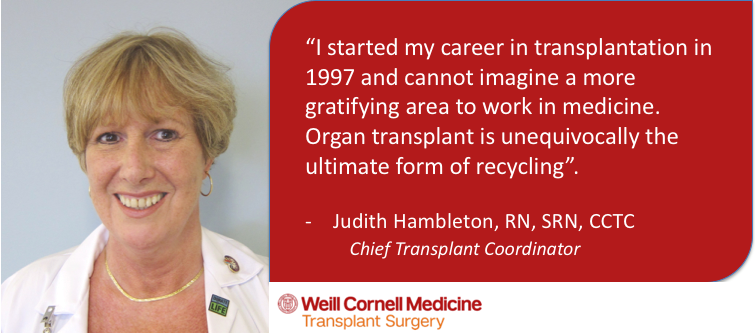 Quote from Judith Hambleton, chief transplant coordinator