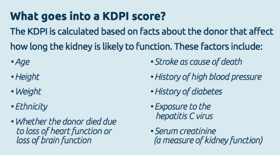 Chart that details the factors that go into a KDPI score