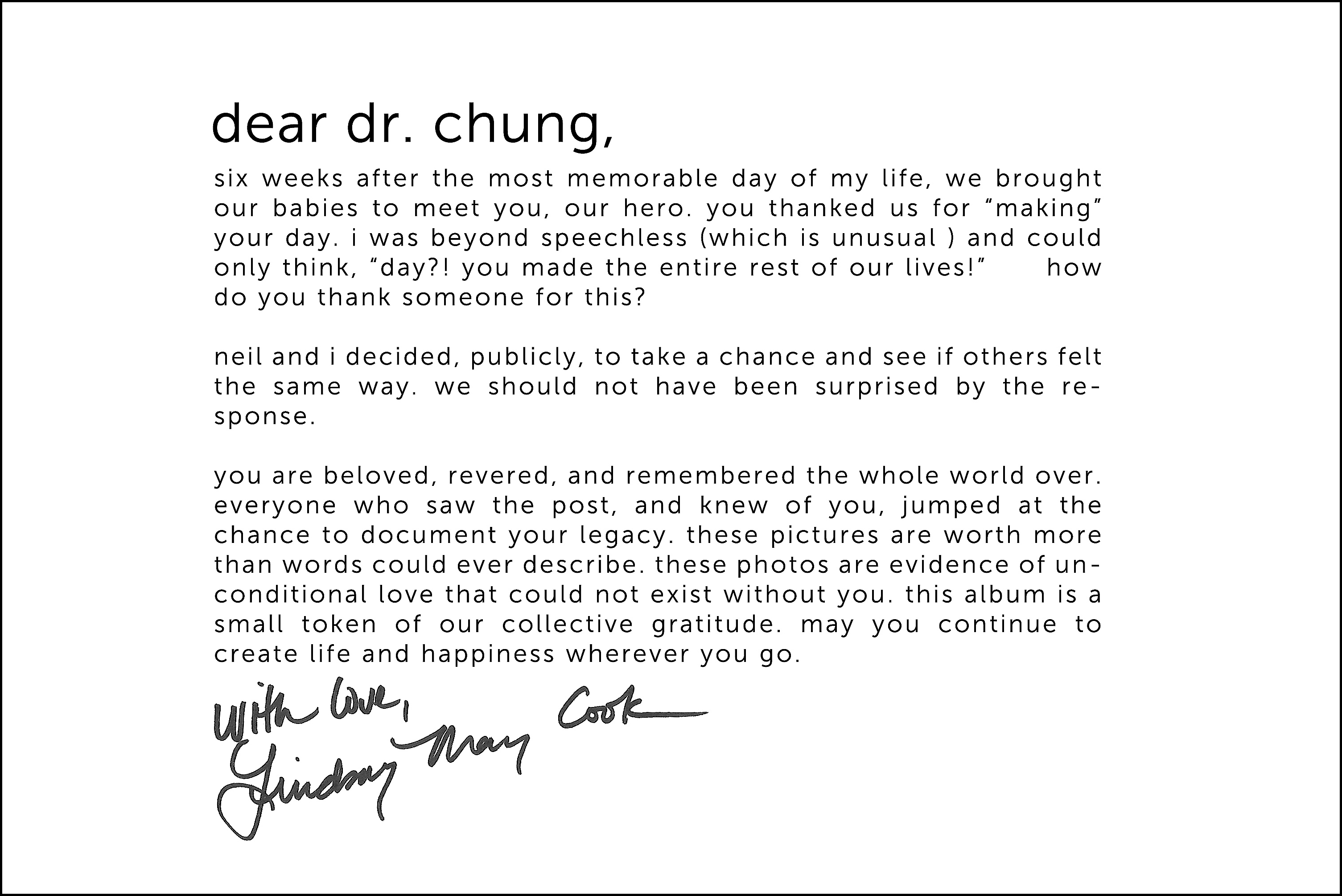 Lindsay Cook's message to Dr. Pak H. Chung