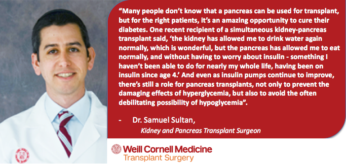 Quote from Dr. Samuel Sultan, a kidney and pancreas transplant surgeon