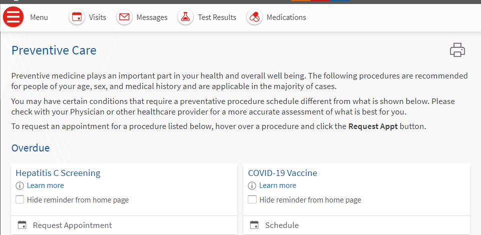 preventative health screenshot