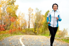 woman running in the fall
