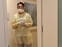 A primary care physician at Weill Cornell Medicine wearing PPE