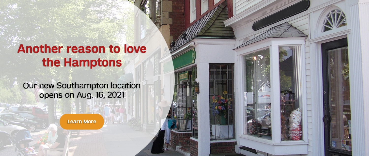 Streetscape in Southampton with text announcing WCM's new office opening on Aug. 16, 2021
